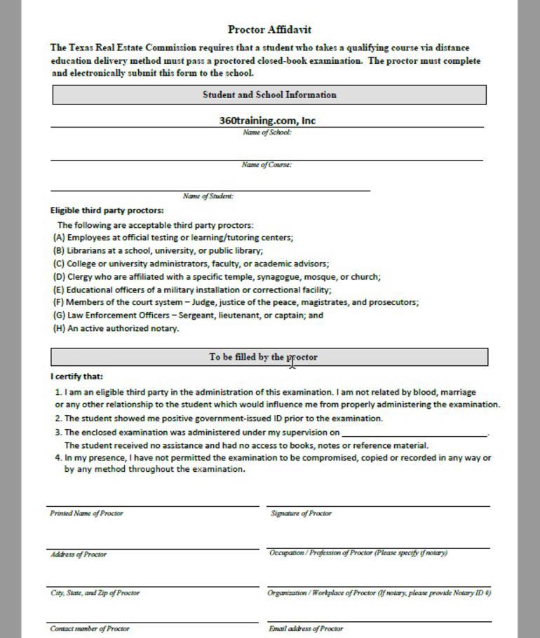 Proctor Affidavit for Texas real estate courses
